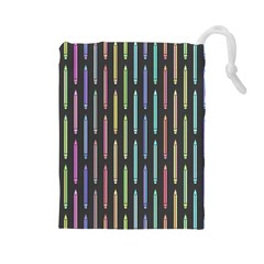 Pencil Stationery Rainbow Vertical Color Drawstring Pouches (Large)