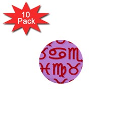 Illustrated Zodiac Red Purple Star 1  Mini Buttons (10 pack)