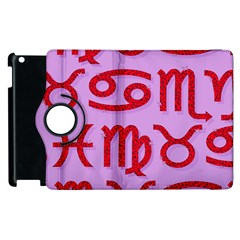 Illustrated Zodiac Red Purple Star Apple iPad 2 Flip 360 Case