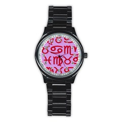 Illustrated Zodiac Red Purple Star Stainless Steel Round Watch