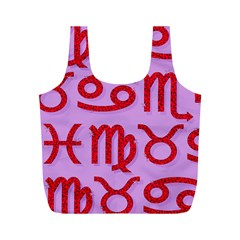 Illustrated Zodiac Red Purple Star Full Print Recycle Bags (M)