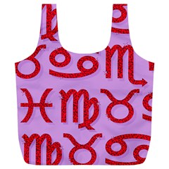 Illustrated Zodiac Red Purple Star Full Print Recycle Bags (L)