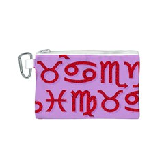 Illustrated Zodiac Red Purple Star Canvas Cosmetic Bag (S)