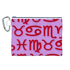Illustrated Zodiac Red Purple Star Canvas Cosmetic Bag (L)