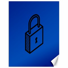 Padlock Love Blue Key Canvas 12  X 16