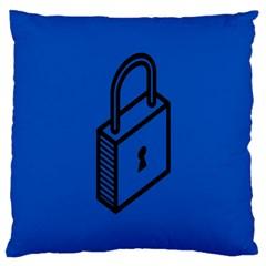 Padlock Love Blue Key Large Cushion Case (One Side)