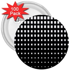 Plaid White Black 3  Buttons (100 pack)