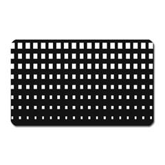 Plaid White Black Magnet (Rectangular)
