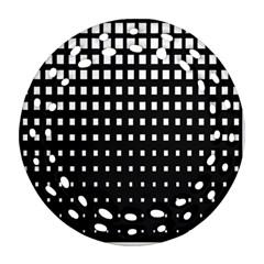 Plaid White Black Ornament (Round Filigree)