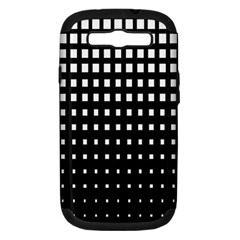 Plaid White Black Samsung Galaxy S III Hardshell Case (PC+Silicone)