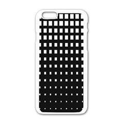 Plaid White Black Apple iPhone 6/6S White Enamel Case