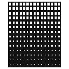 Plaid White Black Drawstring Bag (small)