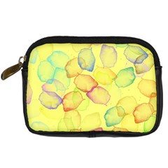 Watercolors on a yellow background           Digital Camera Leather Case