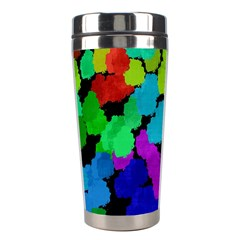 Colorful strokes on a black background               Stainless Steel Travel Tumbler