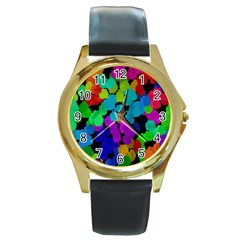 Colorful strokes on a black background               Round Gold Metal Watch