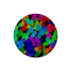 Colorful Strokes On A Black Background               Rubber Round Coaster (4 Pack)