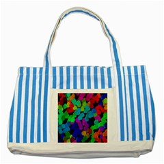 Colorful strokes on a black background               Striped Blue Tote Bag