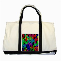 Colorful strokes on a black background               Two Tone Tote Bag