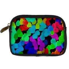 Colorful strokes on a black background          Digital Camera Leather Case