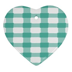 Plaid Blue Green White Line Heart Ornament (Two Sides)