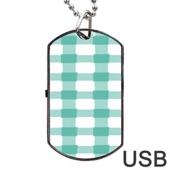 Plaid Blue Green White Line Dog Tag USB Flash (Two Sides)