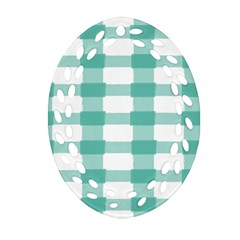 Plaid Blue Green White Line Oval Filigree Ornament (Two Sides)