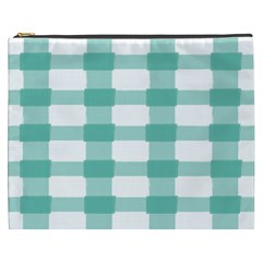 Plaid Blue Green White Line Cosmetic Bag (XXXL)