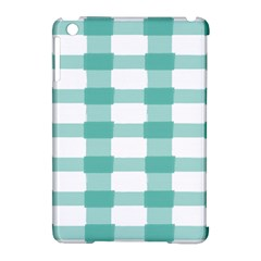 Plaid Blue Green White Line Apple iPad Mini Hardshell Case (Compatible with Smart Cover)