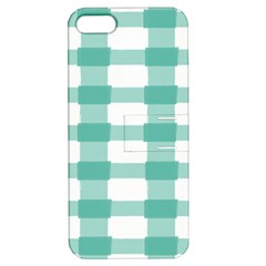Plaid Blue Green White Line Apple iPhone 5 Hardshell Case with Stand