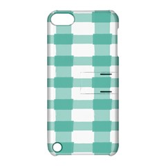 Plaid Blue Green White Line Apple iPod Touch 5 Hardshell Case with Stand