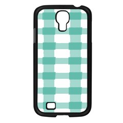Plaid Blue Green White Line Samsung Galaxy S4 I9500/ I9505 Case (Black)