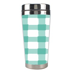 Plaid Blue Green White Line Stainless Steel Travel Tumblers