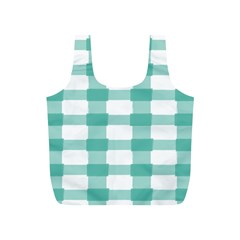 Plaid Blue Green White Line Full Print Recycle Bags (S)