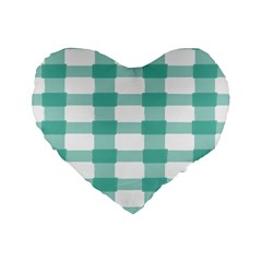 Plaid Blue Green White Line Standard 16  Premium Flano Heart Shape Cushions