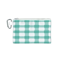 Plaid Blue Green White Line Canvas Cosmetic Bag (S)
