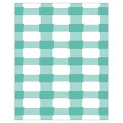 Plaid Blue Green White Line Drawstring Bag (Small)
