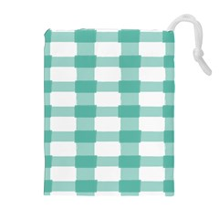 Plaid Blue Green White Line Drawstring Pouches (Extra Large)