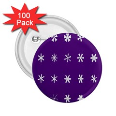 Purple Flower Floral Star White 2.25  Buttons (100 pack)