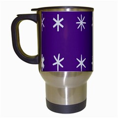 Purple Flower Floral Star White Travel Mugs (White)