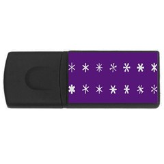 Purple Flower Floral Star White USB Flash Drive Rectangular (4 GB)