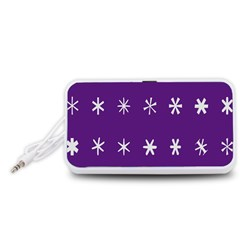 Purple Flower Floral Star White Portable Speaker (White)