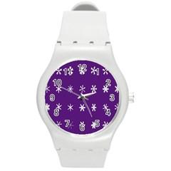 Purple Flower Floral Star White Round Plastic Sport Watch (M)