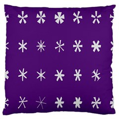 Purple Flower Floral Star White Large Cushion Case (One Side)