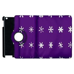 Purple Flower Floral Star White Apple iPad 2 Flip 360 Case
