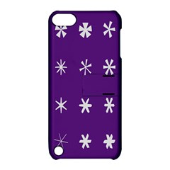 Purple Flower Floral Star White Apple iPod Touch 5 Hardshell Case with Stand