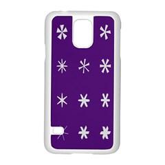 Purple Flower Floral Star White Samsung Galaxy S5 Case (White)