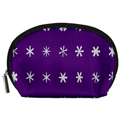 Purple Flower Floral Star White Accessory Pouches (Large)