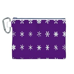 Purple Flower Floral Star White Canvas Cosmetic Bag (L)