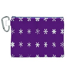 Purple Flower Floral Star White Canvas Cosmetic Bag (XL)