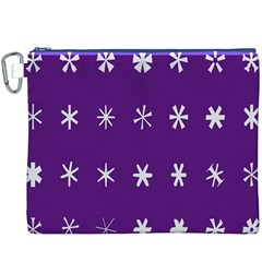 Purple Flower Floral Star White Canvas Cosmetic Bag (XXXL)
